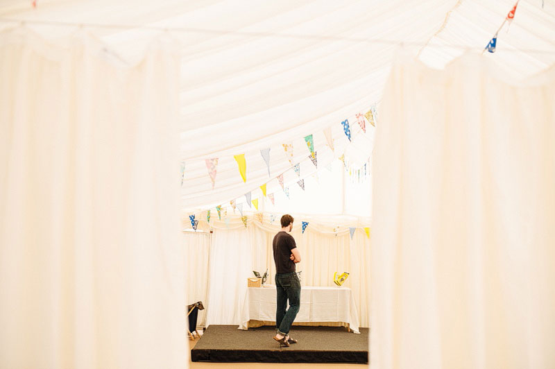 Preparing for the wedding inside the marquee