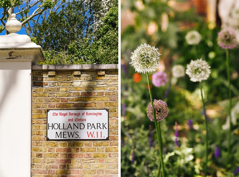 Holland Park Signage and summery flowers