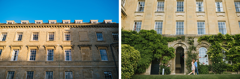 couple walking in front of buildings of worcester college