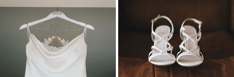 the brides dress and shoes